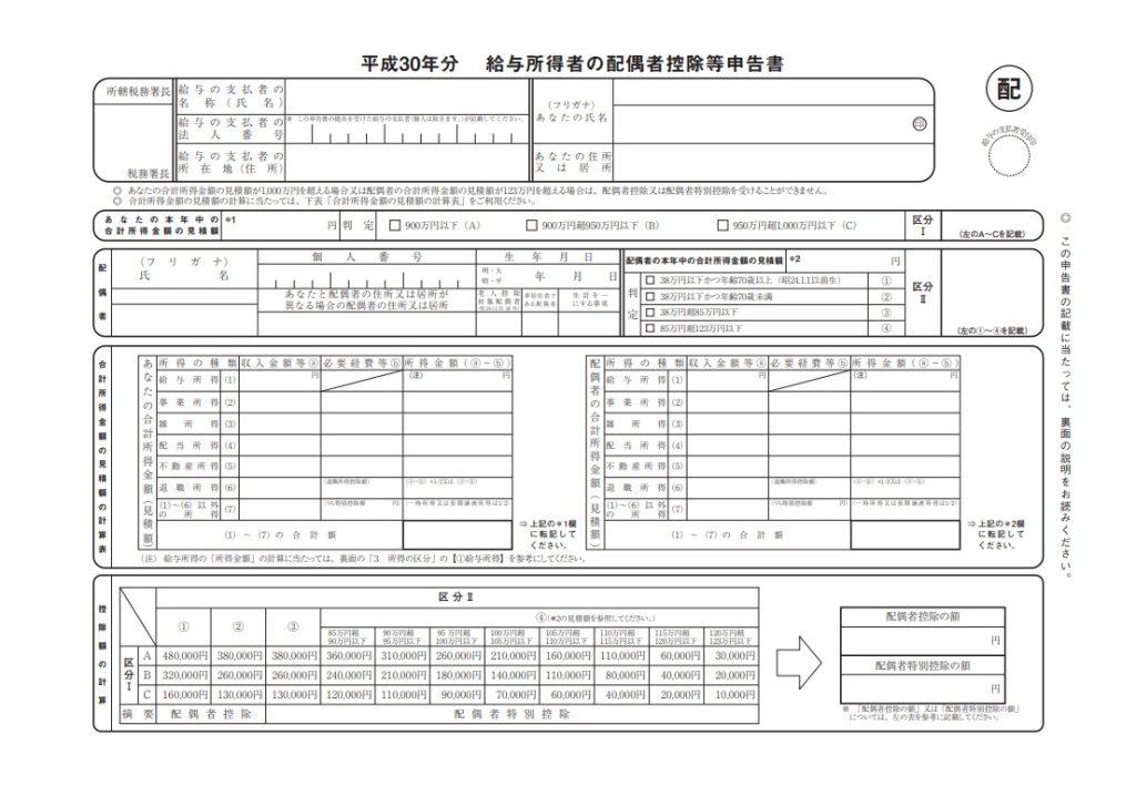給与所得者の配偶者控除等申告書