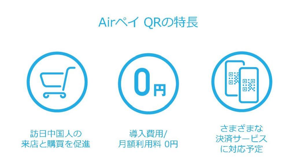 Airペイ QRの特長 訪日中国人の来店と購買を促進 導入費用/月額利用料0円 さまざまな決済サービスに対応予定